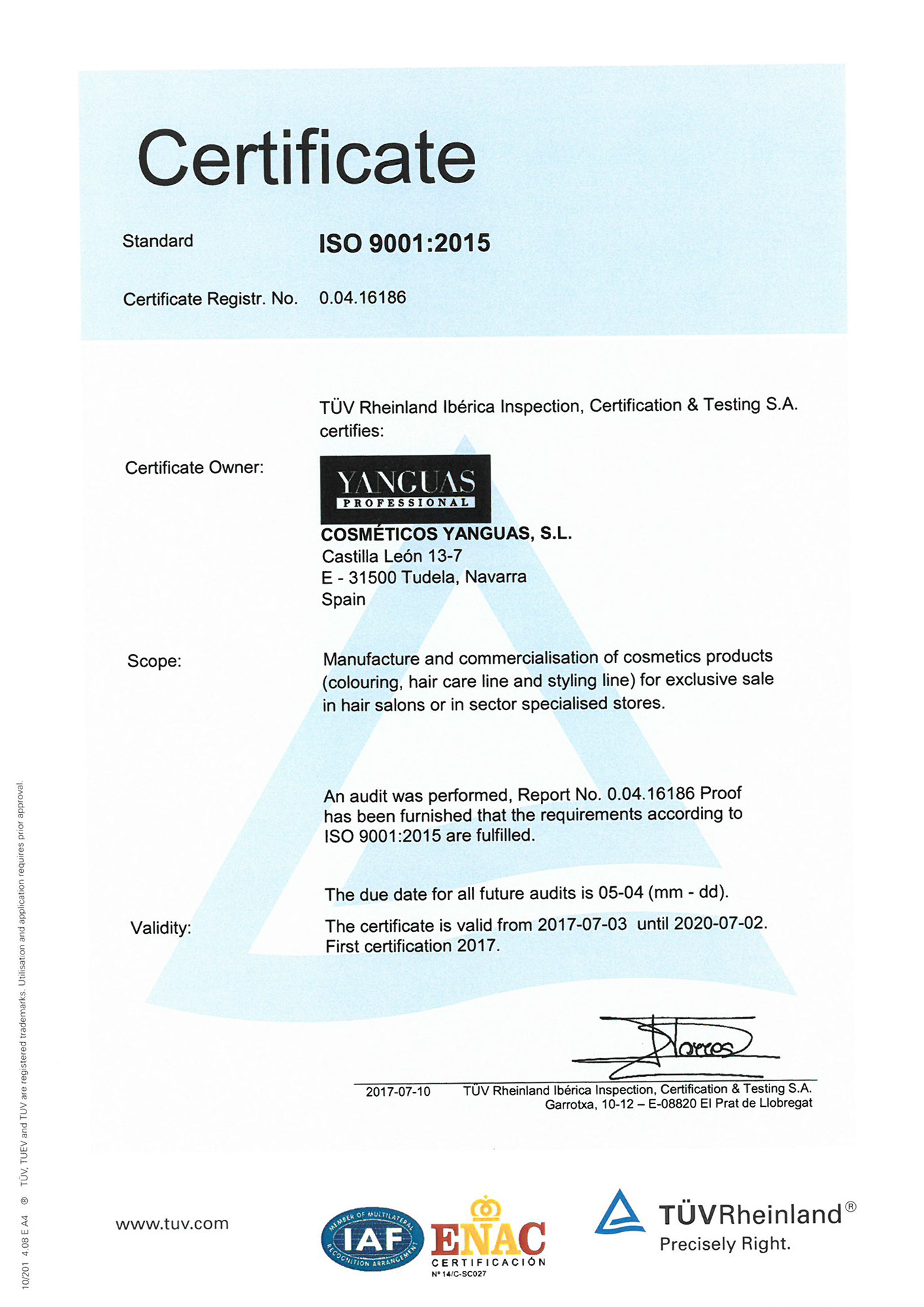 Yanguas Professional Certified Company ISO 9001 And ISO 22716