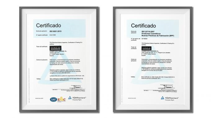 Yanguas Professional, Company Certified With ISO 9001 And ISO 22716